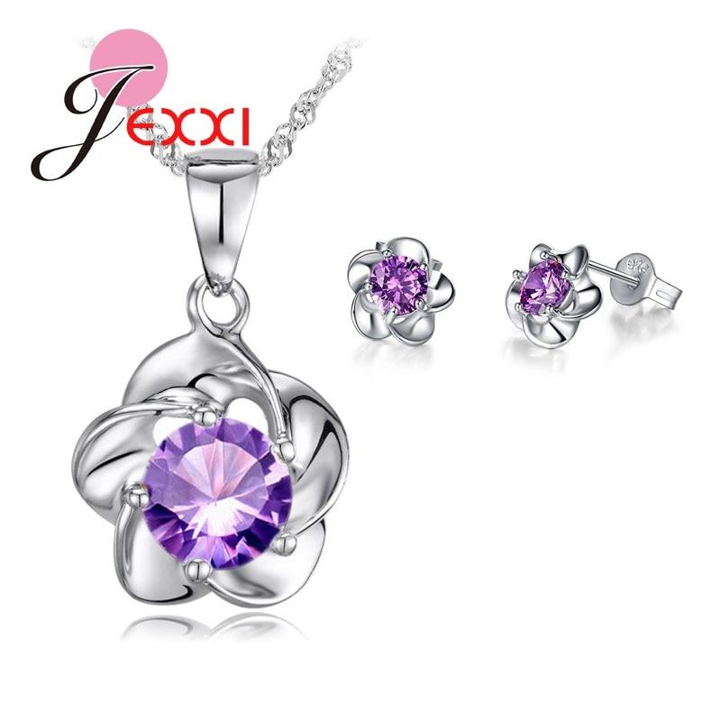 [해외]Luxury Classic 925 Sterling Silver Rose Flower Necklace Purple Cubic Zirconia Stud Earrings Bride Wedding Jewelry Sets/Luxury Classic 925 Sterling