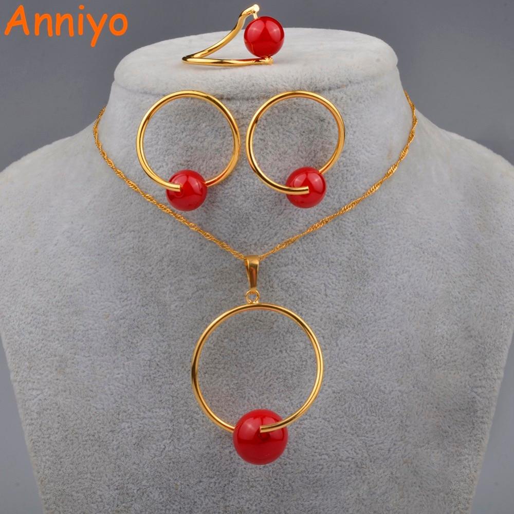 [해외]Anniyo Red Ball Pendant and Necklaces Earrings for Women Bead Jewelry Gifts(Red beads is removable) 090706/Anniyo Red Ball Pendant and Necklaces E