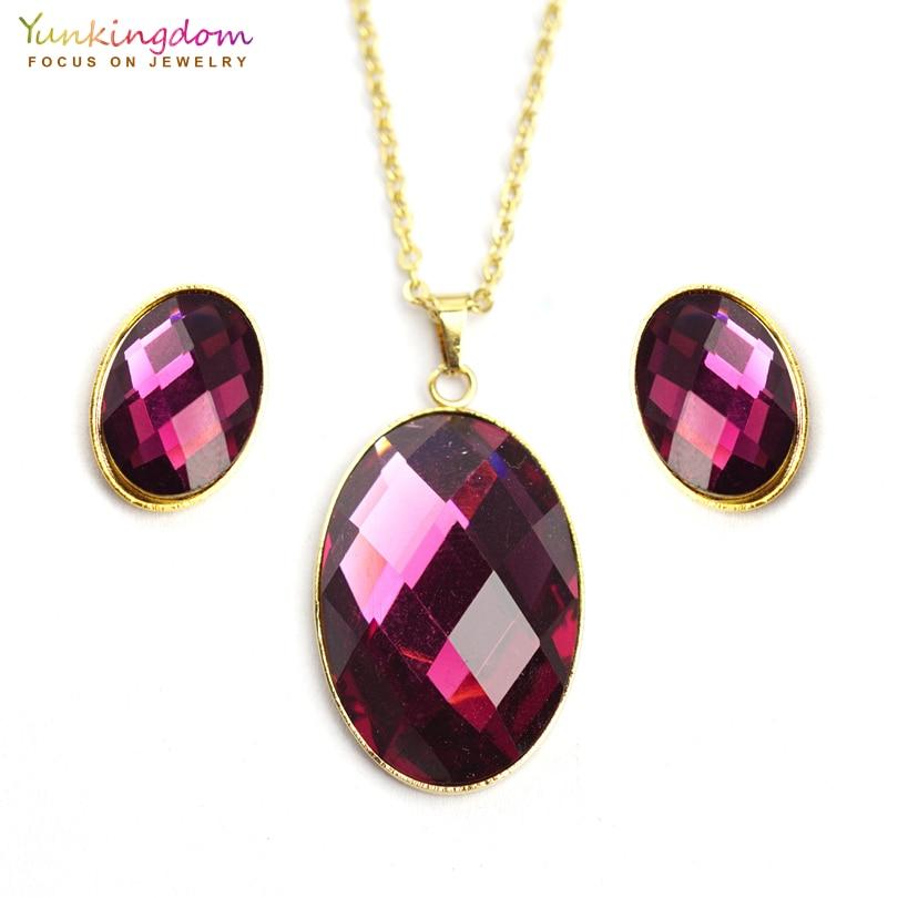[해외]Yunkingdom oval purple acrylic crystal jewelry sets for women fashion stainless steel jewelry set chain necklace earring UE0144/Yunkingdom oval pu