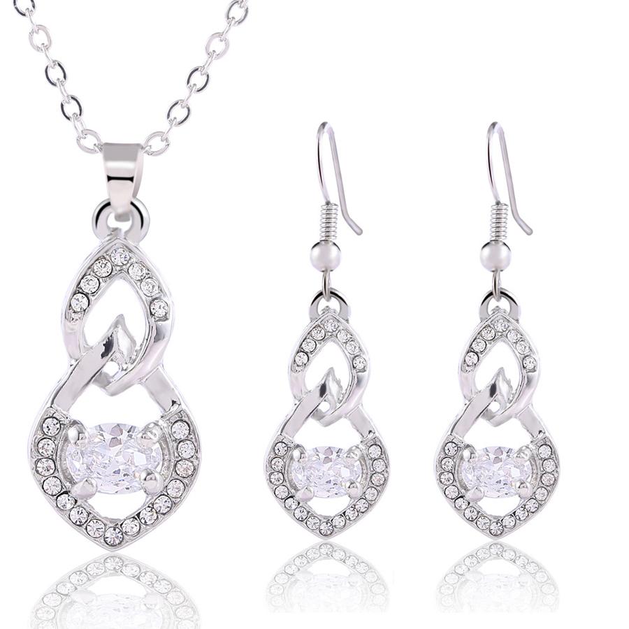 [해외]Austrian Crystal jewelry silver plated gourd pendant fashion jewelry sets for women 2018 Valentine`s day gift/Austrian Crystal jewelry silver plat