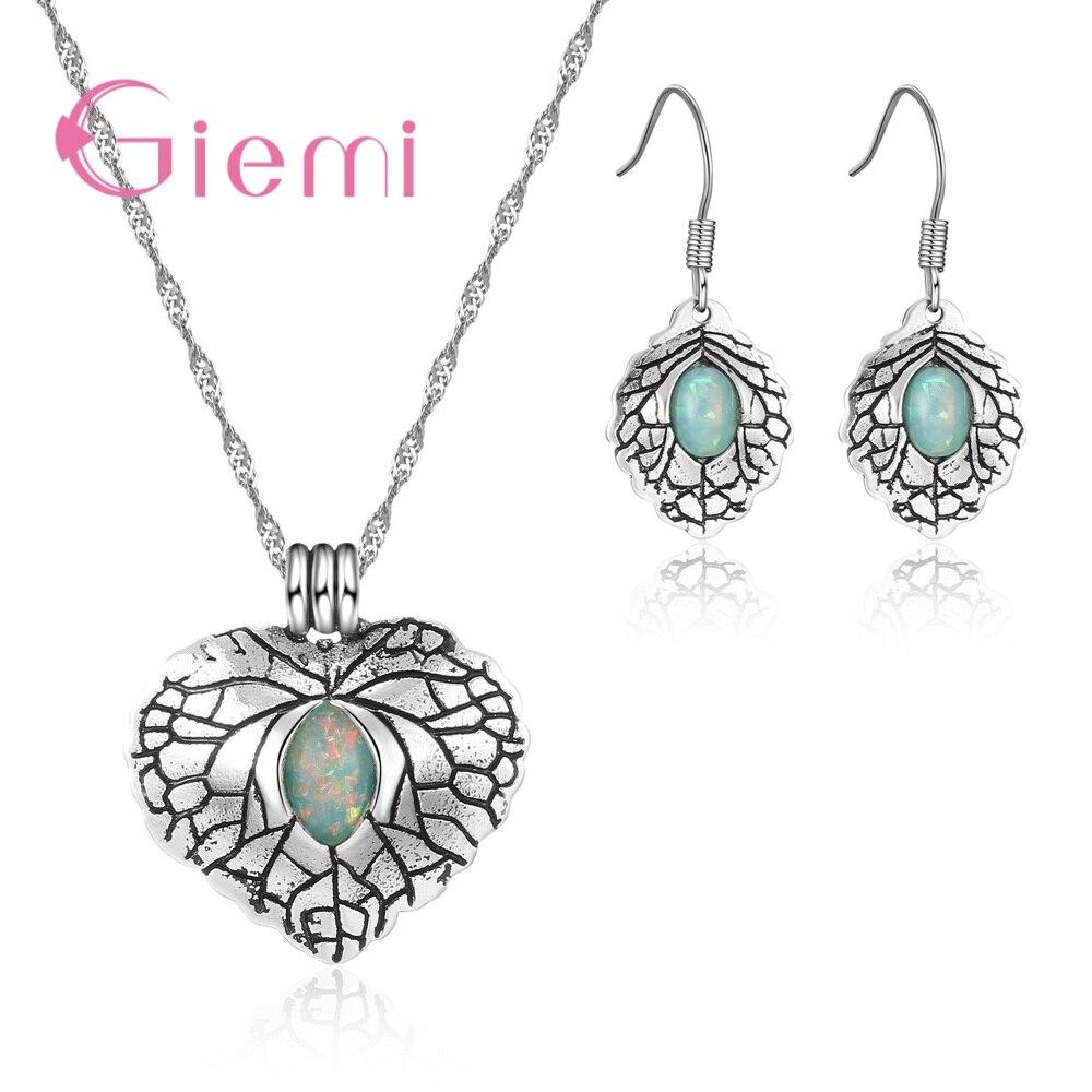 [해외]Giemi Vintage Real 925 Sterling Silver Good Selling Green Opal Stone Necklace Pendant Earrings Jewelry Sets For Women Ladies/Giemi Vintage Real 92