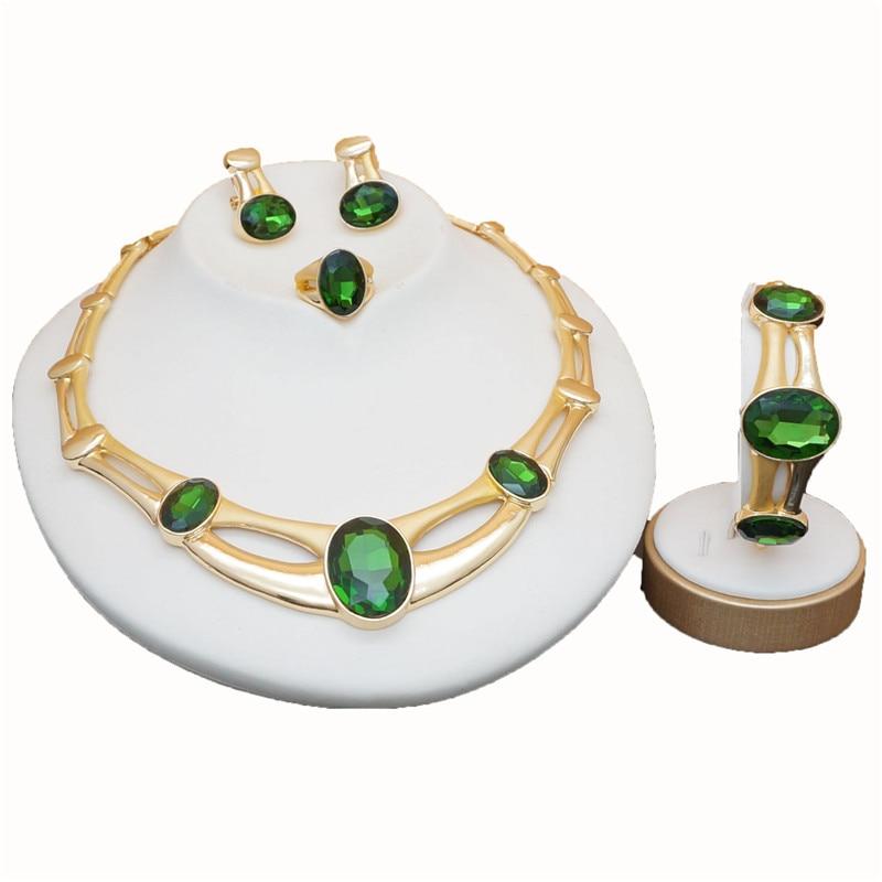 [해외]rose gold green stone jewelry sets Women Bridal Jewelry Sets Luxury necklace set in jewelry sets stud drop earrings jewellery/rose gold green ston