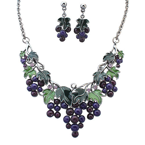 [해외]Women`s Fashion Grape Leaves Pendant Choker Chain Necklace Earrings Jewelry Set Wedding Engement Jewerly Set Fashion New Arrival/Women`s Fashion G