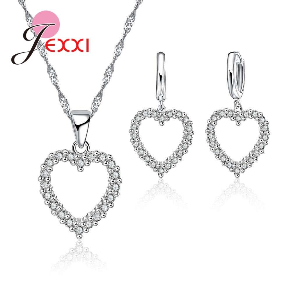 [해외]JEXXI Elegant Wedding Heart Necklace Earrings Jewelry Sets For Brides Charm 925 Sterling-Silver Jewellery Sets For Engagement/JEXXI Elegant Weddin