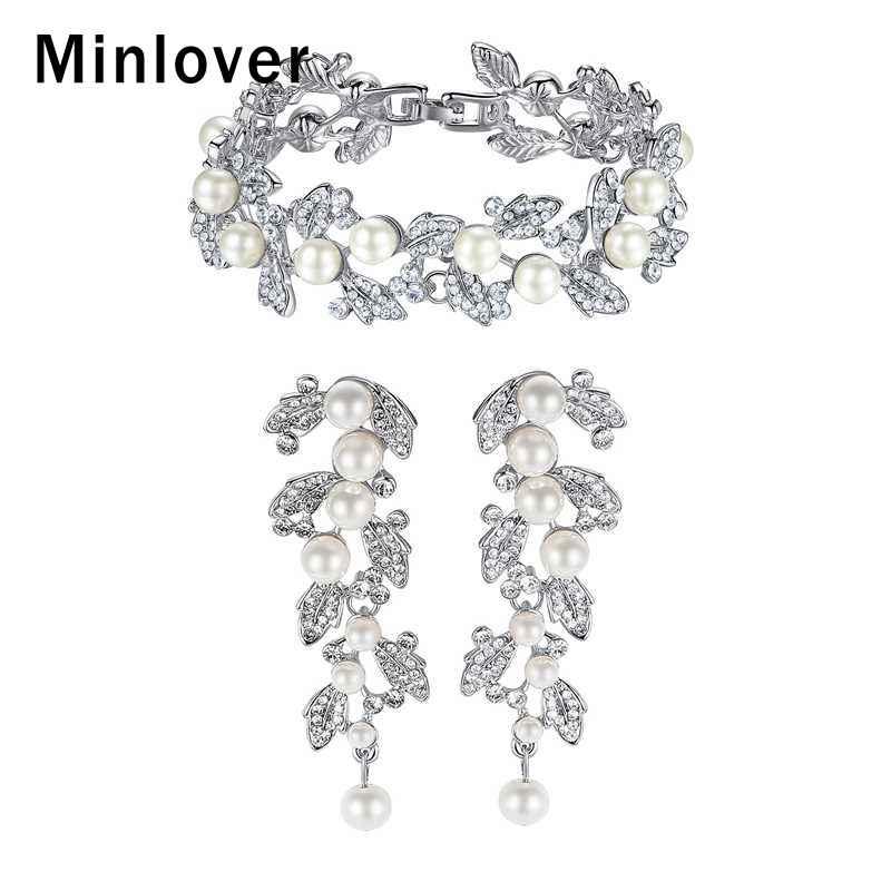 [해외]Minlover Silver Color Leaves Crystal Earrings Bracelet Bride Jewelry Sets for Women Simulated Pearl Wedding Jewelry SL089+EH604/Minlover Silver Co