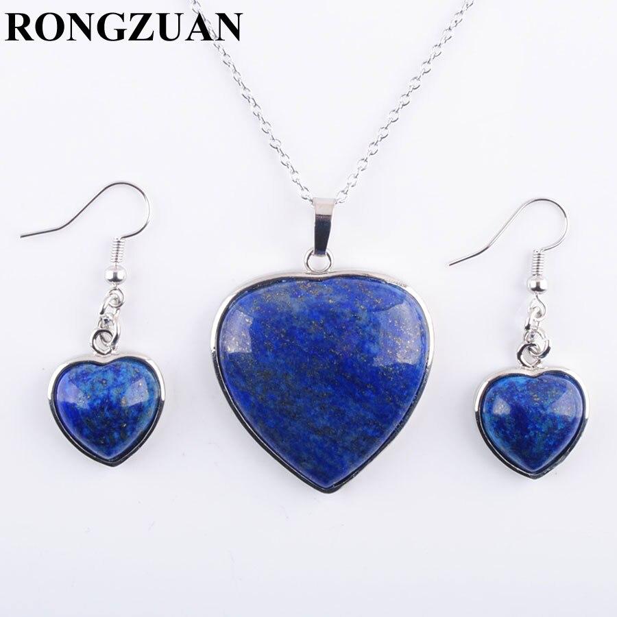 [해외]YOWOST Natural Lapis Lazuli Stone Love Heart Shape Beads Pendant Necklace Chain Earrings Jewelry Set Women Jewelry Gifts IQ3082/YOWOST Natural Lap