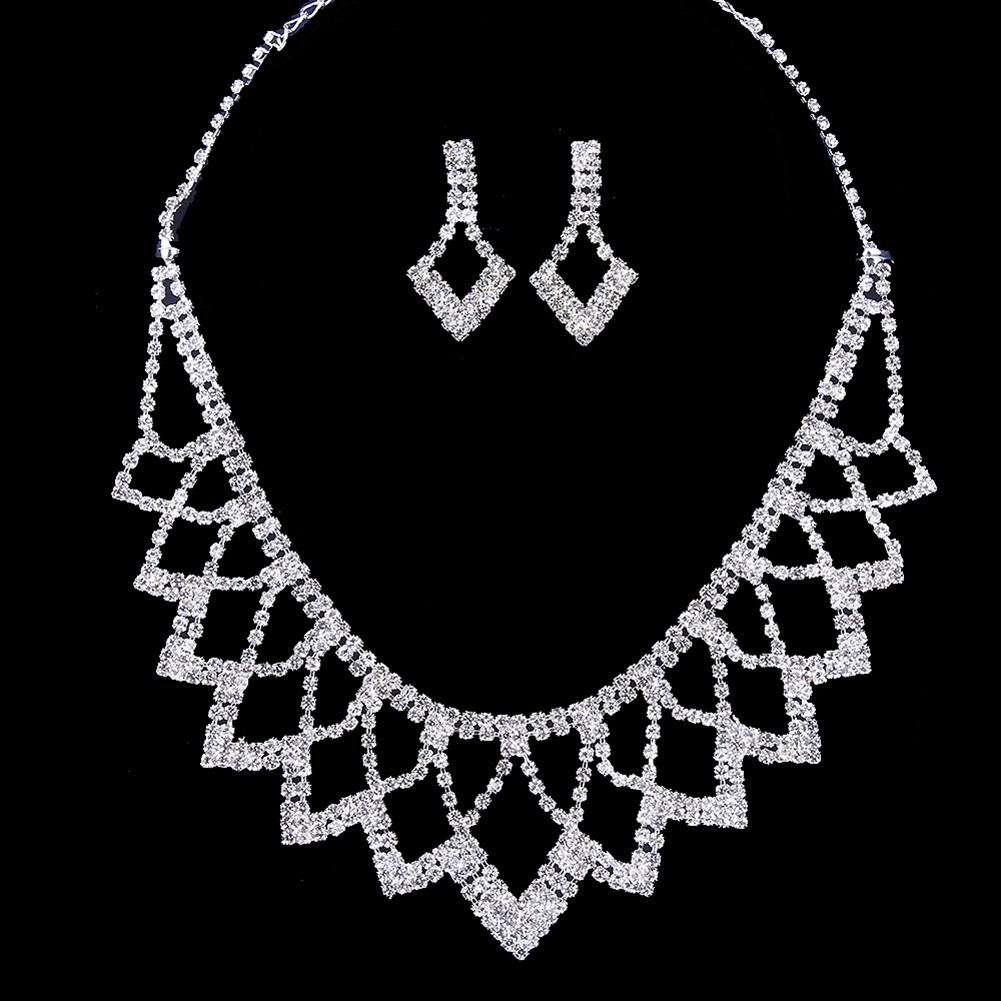 [해외]Women Earrings Necklace Hollow Rhombus Rhinestone Inlaid Wedding Bridal Jewelry Set  /Women Earrings Necklace Hollow Rhombus Rhinestone Inlaid Wed