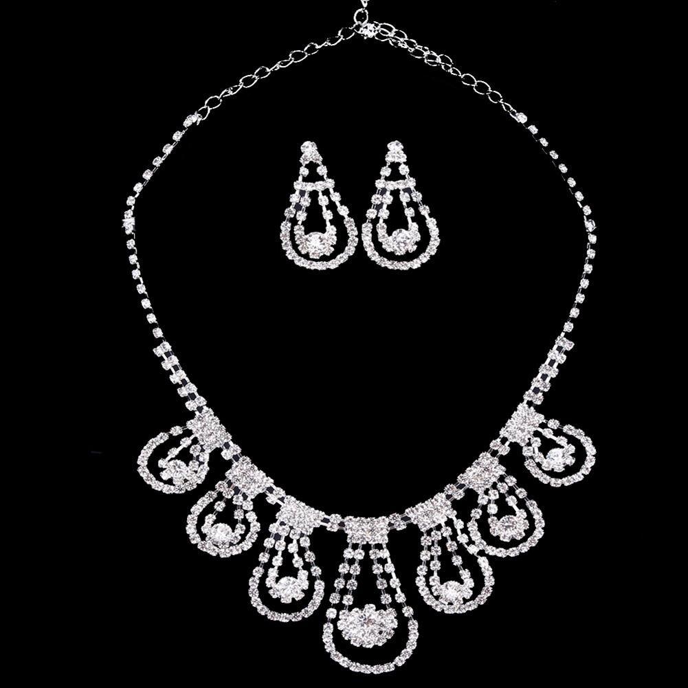 [해외]Women Earrings Necklace Luxury Hollow Waterdrop Rhinestone Wedding Bridal Jewelry Set Gift /Women Earrings Necklace Luxury Hollow Waterdrop Rhines