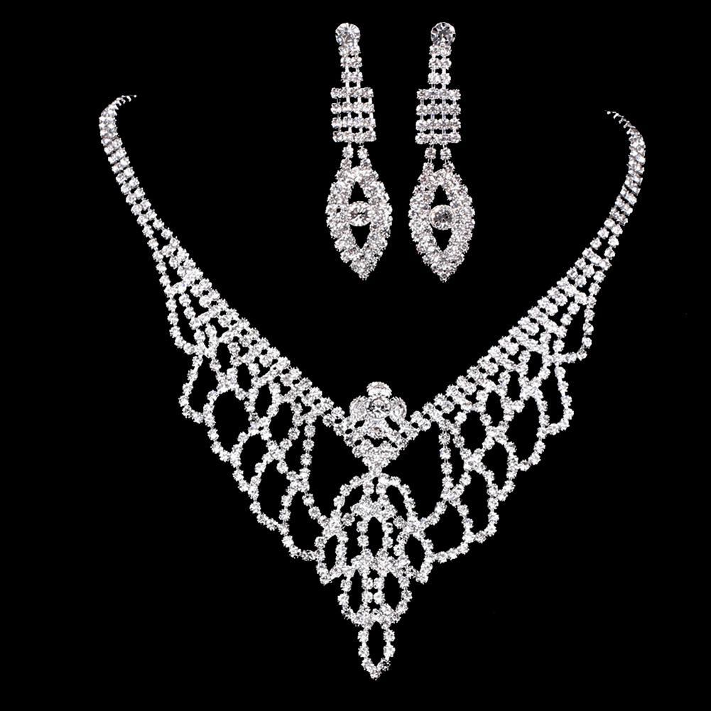 [해외]Women Necklace Eyes Earrings Jewelry Set Full Rhinestone Wedding Bridal Hollow Mesh Gift /Women Necklace Eyes Earrings Jewelry Set Full Rhinestone