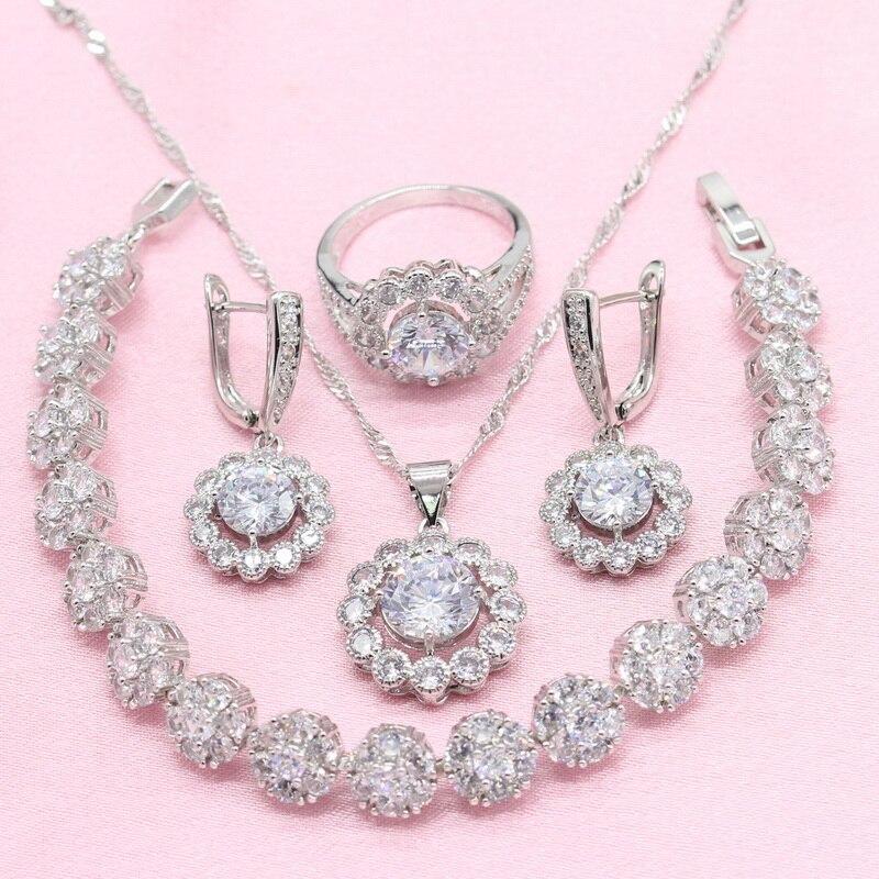 [해외] White Cubic Zirconia 925 Silver Jewelry Set Women Earrings Bracelet Necklace Ring Free Gift Box 2019 New Arrival/ White Cubic Zirconia 925 Silver