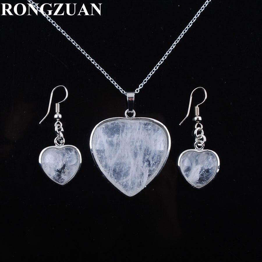 [해외]YOWOST Natural Crystal Stone Love Heart Shape Beads Pendant Necklace Chain Earrings Jewelry Set Women Jewelry Gifts IQ3083/YOWOST Natural Crystal