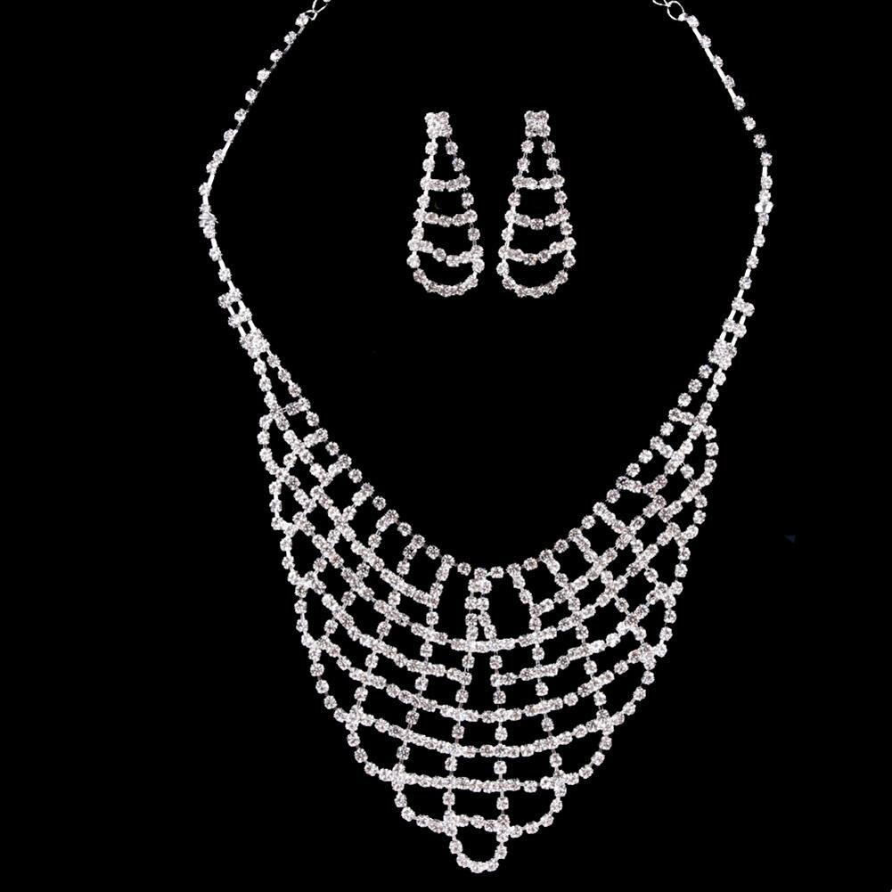[해외]Women Necklace Earrings Jewelry Set Hollow Mesh Bling Rhinestone Wedding Party Bridal Gift /Women Necklace Earrings Jewelry Set Hollow Mesh Bling