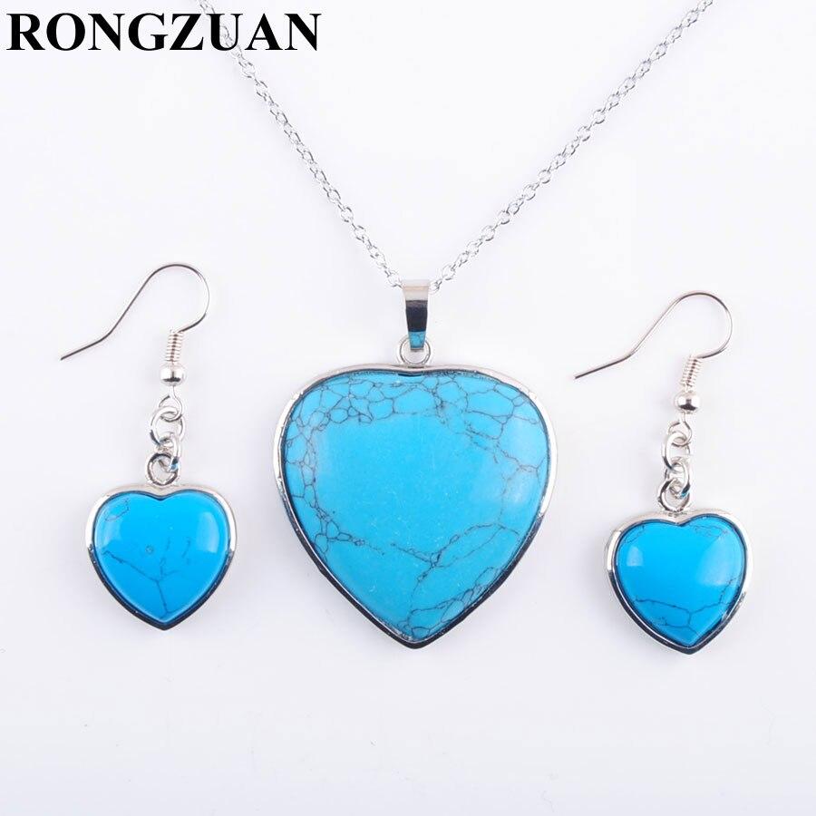[해외]YOWOST Natural Blue Turquoises Stone Love Heart Shape Beads Pendant Necklace Chain Earrings Jewelry Set Women Jewelry IQ3081/YOWOST Natural Blue T