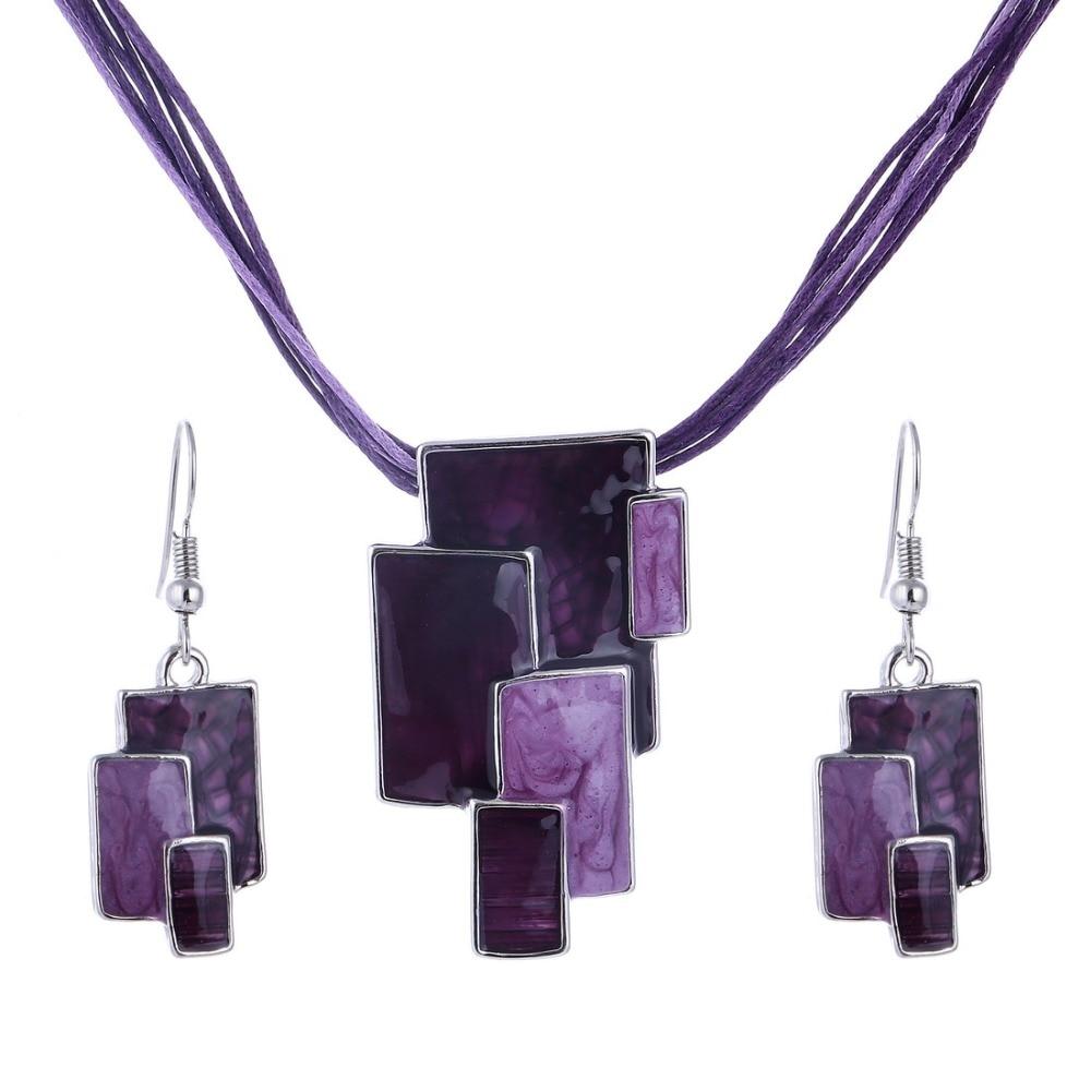 [해외]Hesiod Jewelries Chain Leather Rope Pendant Necklace Irregular Charm Vintage Women Enamel Choker Jewelry Sets Christmas Gifts/Hesiod Jew