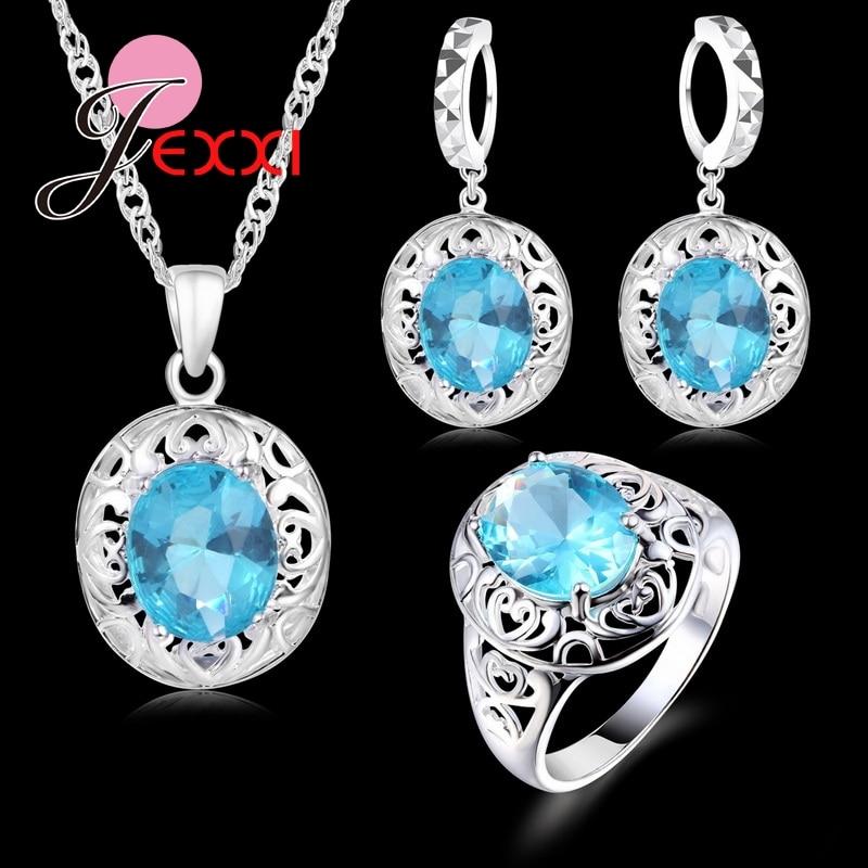 [해외]Top Quality Wedding Jewelry for Brides 925 Sterling Silver CZ Crystal Earrings Ring Necklace Bridal Jewelry Set/Top Quality Wedding Jewe