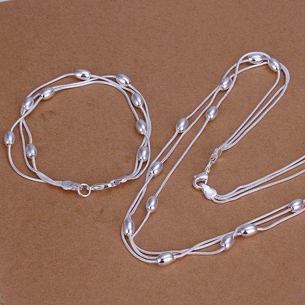 [해외]Whole fashion jewelry set .925 jewelry three-line light bead bracelet necklace  sets of simple geometry S140/Whole fashion jewelry set .