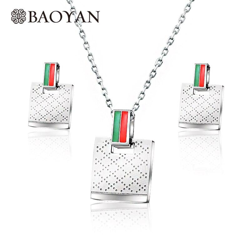 [해외]Baoyan Whole Stainless Steel Jewelry Set 2019 Silver Color Earrings Necklace Set Famous Brand Wedding Jewelry Sets For Women/Baoyan Whol
