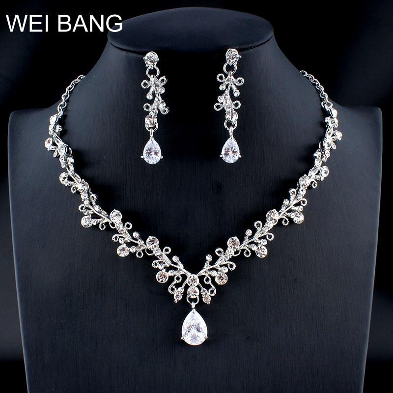 [해외]Weibang 클래식 플라워 크리스탈 보석 세트 신부 실버 목걸이 목걸이 귀걸이 세트 여성 웨딩 보석 dropshipping