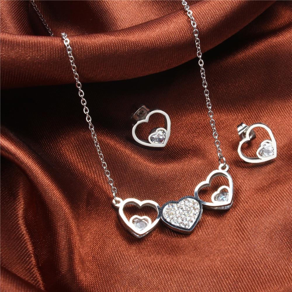 [해외]XUANHUA Stainless Steel Heart Necklace And Earrings Jewelry Sets With Stones 2019 For Women Jewellery Fashion Necklace Gift Set/XUANHUA