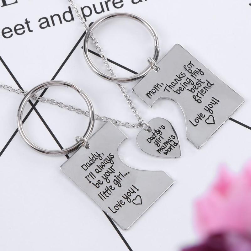 [해외]3pcs/Set Daddy Girl Mama World Letters Pendant Love Necklace Titanium Steel Mother Father Kids Simple Key Rings Jewelry Gifts/3pcs/Set D
