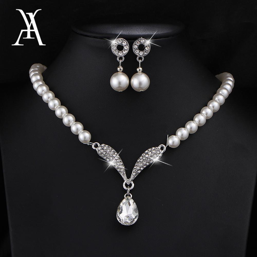 [해외]AY Charm Simulated Pearl Water Drop Crystal Jewelry Sets for Women Pendant Necklaces Earrings Bracelet Bridal Wedding Jewelry/AY Charm S