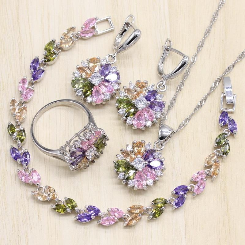 [해외]925 Sterling Silver Jewelry S Multicolor Stones Cubic Zirconia Jewelry Sets For Women Earrings/Pendant/Necklace/Ring/Bracelet/925 Sterli