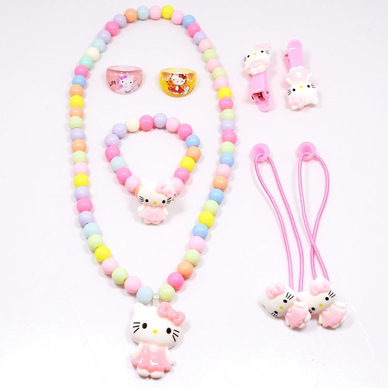 [해외]Hot  Children Baby Girl Hair Accessories Set Hello Kitty Jewelry Set Rings Hair Rope Necklace Bracelet Hairpin Party Gifts/Hot  Children