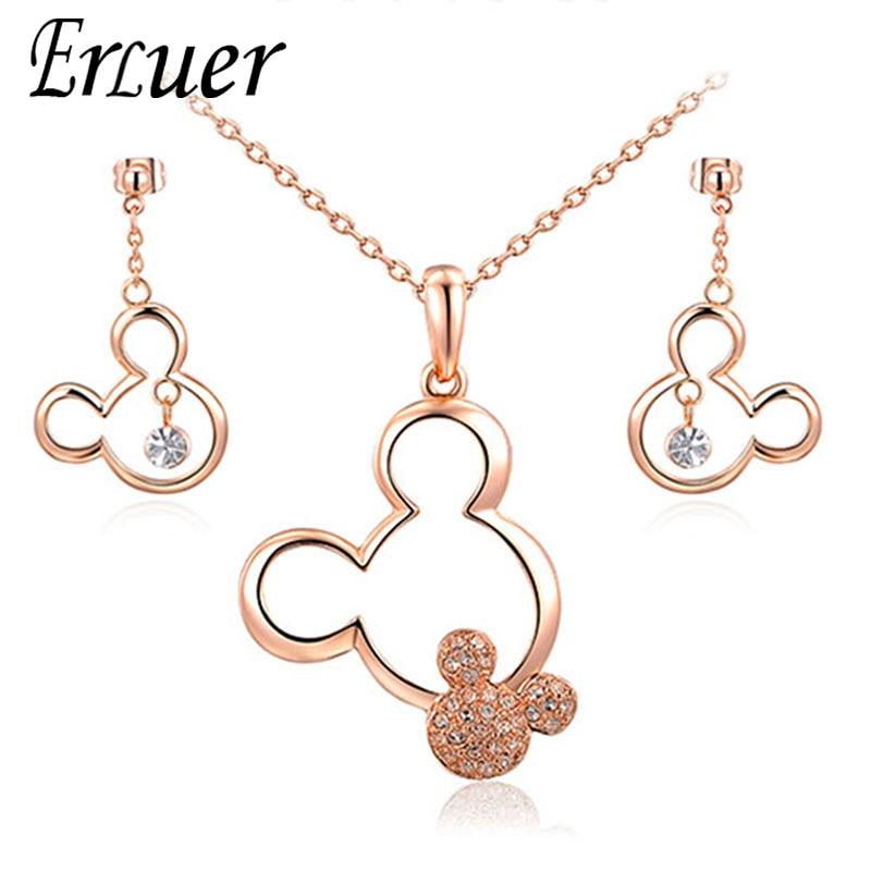 [해외]ERLUER Jewelry Sets Mickey Pendant Necklace Drop Earrings Austrian Crystal Weeding Necklaces Set For Women Girls Gift Jewellery/ERLUER J