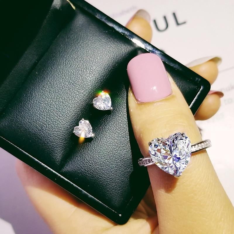 [해외]925 Sterling Silver Jewelry set halo Engagement ring round stud earring for Wedding christmas Valentines Day gift party J4921/925 Sterli