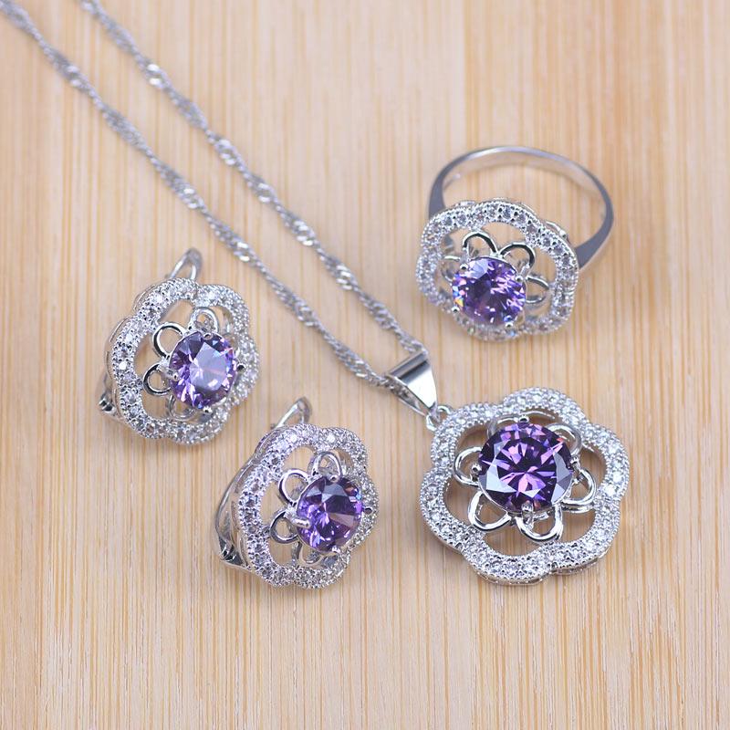 [해외]Purple Rose Cubic Zirconia Silver 925 Costume Jewelry Set Party/Wedding/Engagement Pendant/Hoop Earrings/Ring/Necklace Set/Purple Rose C