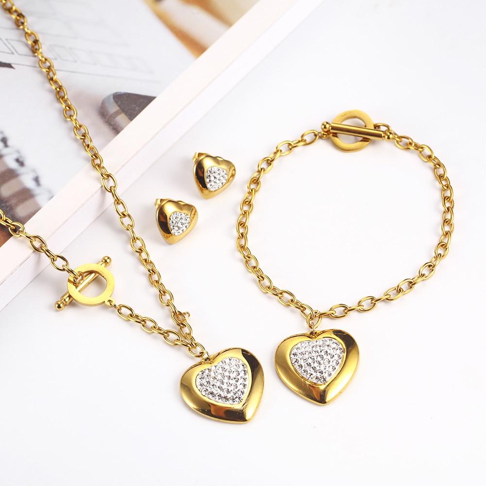 [해외]OUFEI Stainless Steel Jewelry Woman Sets Heart Necklace Earrings Bracelet Set Accessories Fashion Jewelry sets Gifts For Women/OUFEI Sta