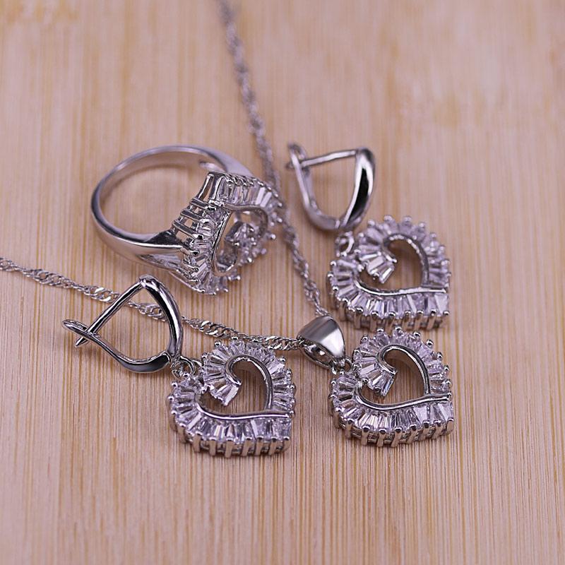 [해외]Trendy 925 Sterling Silver Jewelry Set For Women Heart CZ Stone Charm Pendants Necklaces Earrings Rings LOVE Anniversary Gift/Trendy 925
