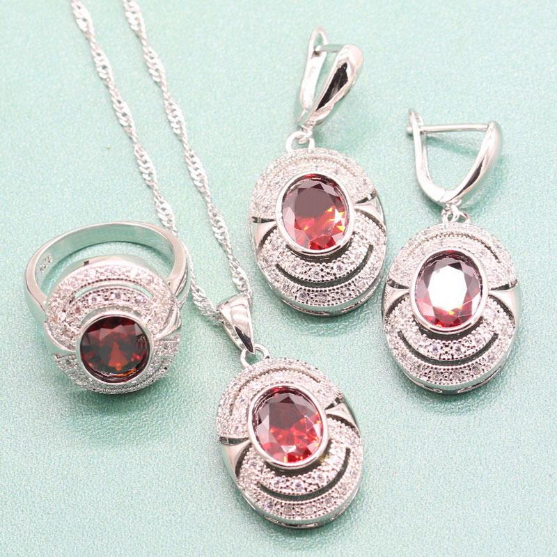 [해외]EIOLZJ Red Semi-precious Stone Sterling Silver 925 Jewelry Sets For Women Necklace Ring Dangle Earrings Free Jewelry Box/EIOLZJ Red Semi