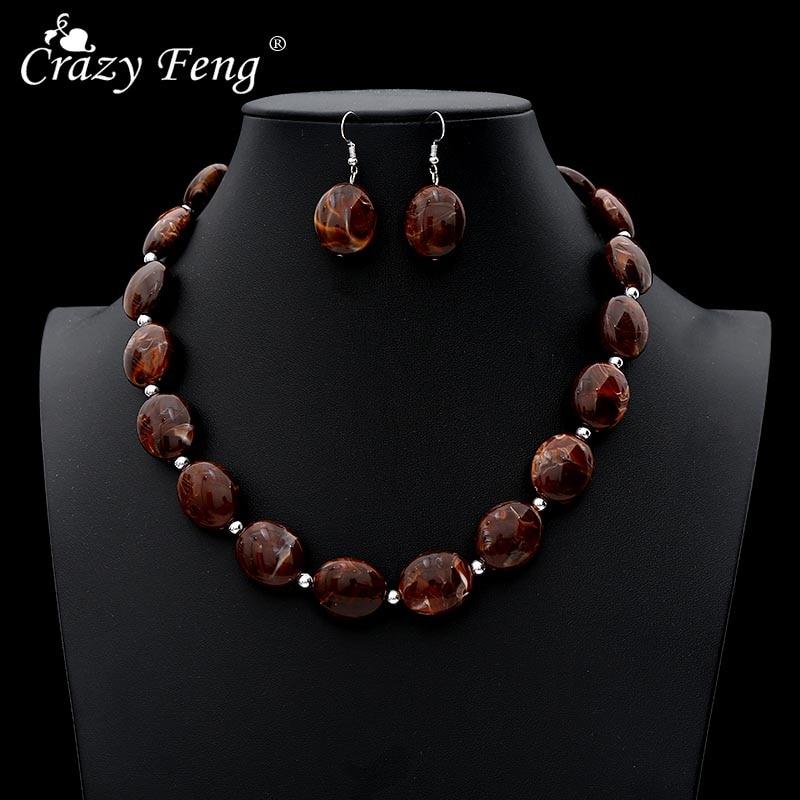 [해외]Crazy Feng Vintage African Jewelry Sets For Women Oval Stone Beaded Necklaces Drop Earrings Set 2019 Fashion Jewelry NE+EA/Crazy Feng Vi