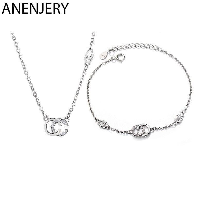 [해외]ANENJERY Brand 925 Sterling Silver Jewelry Sets Trendy Ins Zircon CC Letters Necklace+Bracelet For Women Gift/ANENJERY Brand 925 Sterlin