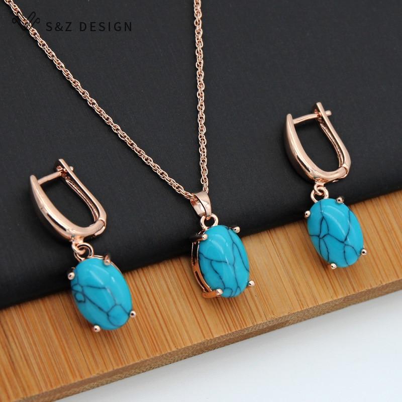 [해외]S&Z Fine Turquoises Oval Egg Shape 585 Rose Gold Earrings Jewelry Set For South Korean Women Temperament Wedding Fashion Jewelry/S&Z Fin