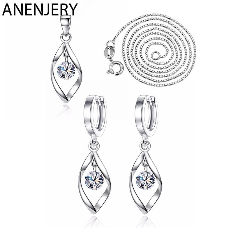 [해외]ANENJERY 925 Sterling Silver Jewelry Sets Zircon Twist Water Drop Necklace+Earrings For Women Gift/ANENJERY 925 Sterling Silver Jewelry