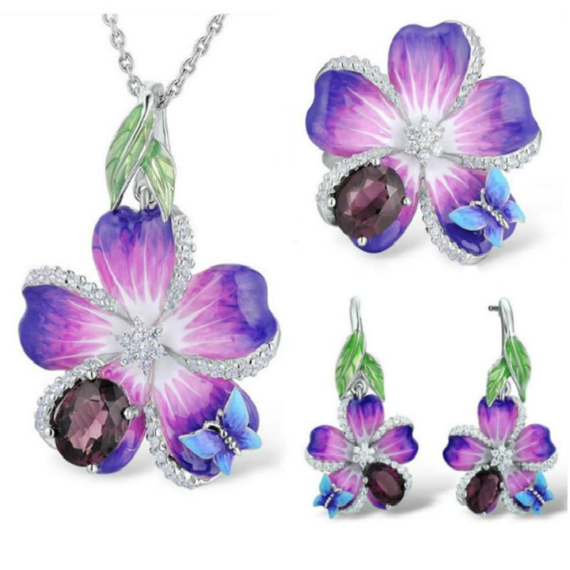 [해외]Elegant Butterfly Flower Silver Enamel Jewelry Sets for Women Beautiful Red Stone Wedding Pendant Necklace Ring Earrings Sets/Elegant Bu