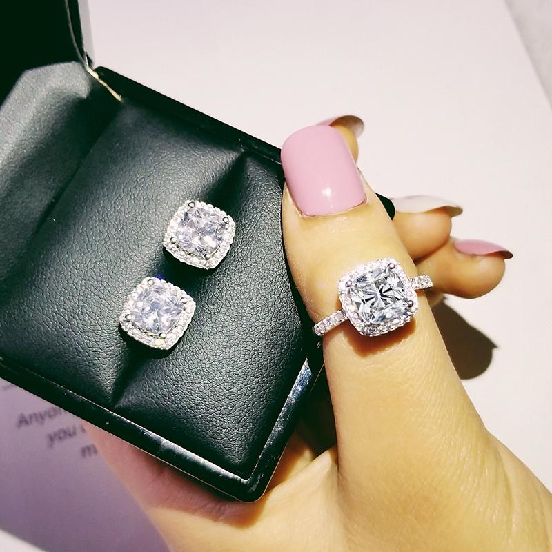 [해외]solid 925 Sterling Silver cushion cut zircon cz Jewelry set Engagement ring stud earring for Wedding for women gift J1099/solid 925 Ster