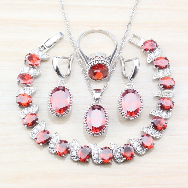 [해외]Natural Red Garnet Zircon 925 Sterling Silver Oval Jewelry Sets For Women Wedding Bridal Accessories Free Gift Box T78/Natural Red Garnet Zircon 9