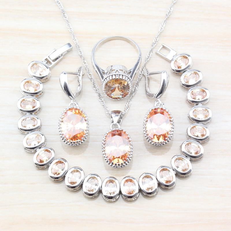 [해외]Dubai Wedding Jewelry Sets 925 Silver Oval Champagne Stone Zircon Earrings And Bracelets Sets For Women Costume Jewelry/Dubai Wedding Jewelry Sets