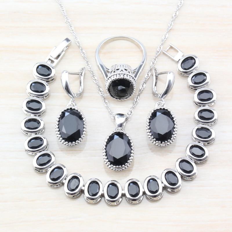 [해외]Mystic Oval Black Zircon 925 Sterling Silver 7-Color 4PCS Jewelry Sets For Women Earrings/Pendant/Necklace/Bracelet/Ring T84/Mystic Oval Black Zir