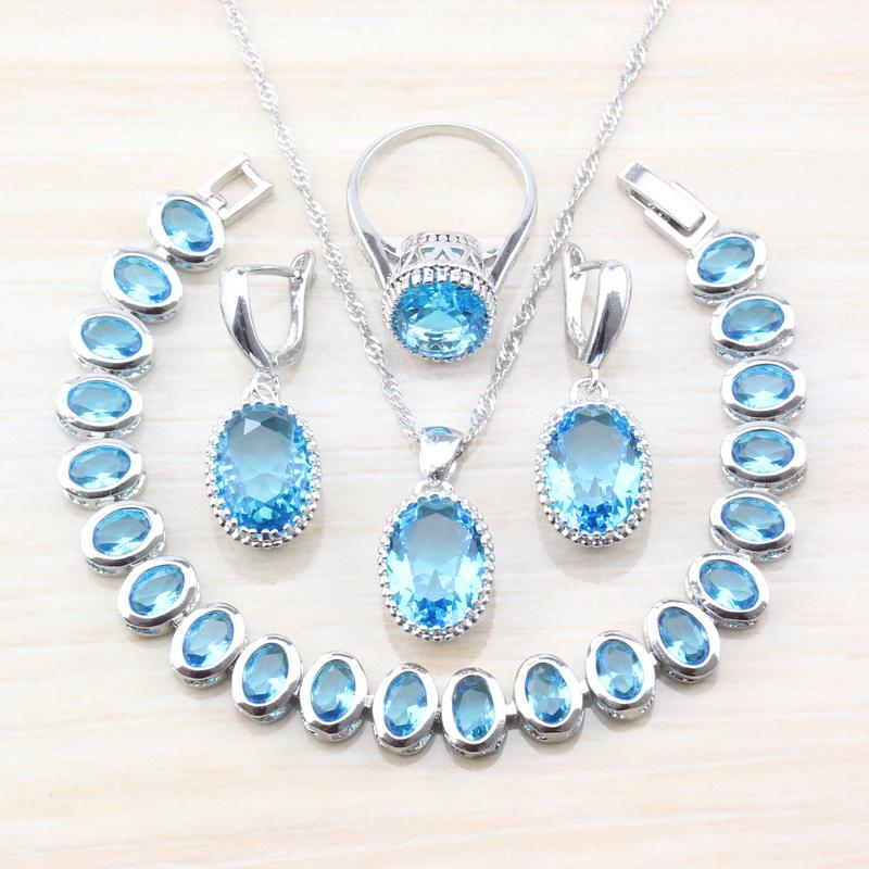 [해외]925 Sterling Silver Fashion Party Trinket Oval Sea Blue Zircon Jewelry Sets For Women Earrings/Pendant/Necklace/Bracelet Ring /925 Sterling Silver