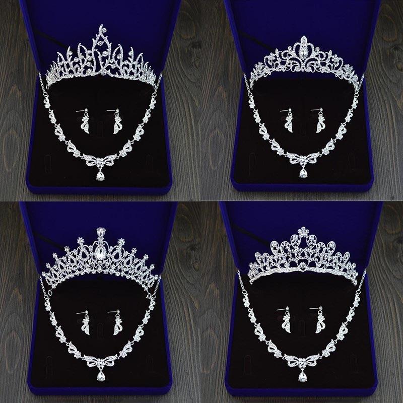 [해외]Wedding Jewelry Hair Accessory Sets Crystal  Tiaras and Crowns Necklace Earrings Jewelry Sets for Women Bridal Head Jewelry S545/Wedding Jewelry H