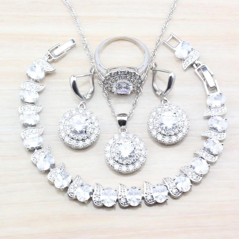[해외]AAA+ Quality Natural Round White Zircon Lovely Princess Wedding Jewelry Sets 925 Sterling Silver Accessories For Women T49/AAA+ Quality Natural Ro
