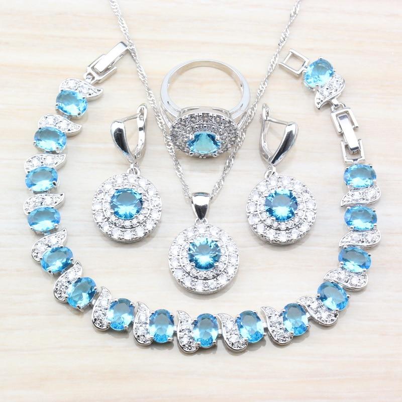 [해외]Round Sea Blue Zircon 7-Color Jewelry Sets 925 Sterling Silver 4PCS Earrings/Pendant/Necklace/Bracelet/Ring For Women Trinket/Round Sea Blue Zirco