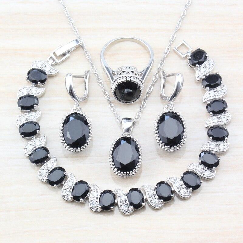 [해외]Punk Style Magic Oval Black Zircon 925 Sterling Silver 8-Color Jewelry Sets For Women Fashion Accessories Gift  T76/Punk Style Magic Oval Black Zi