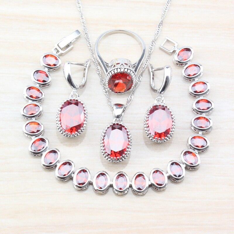 [해외]Perfect Red Garnet Zircon Charming Women Wedding Jewelry Sets 925 Sterling Silver 7-Color Fashion Accessories  T86/Perfect Red Garnet Zircon Charm