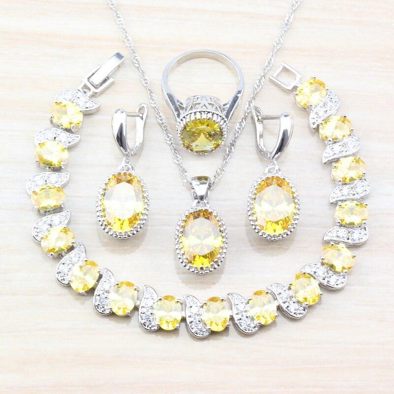 [해외]Women Wedding Jewelry Sets Of 925 Silver Dubai Luxurious Oval Yellow Crystal Necklace Necklace And Earrings Sets /Women Wedding Jewelry Sets Of 92