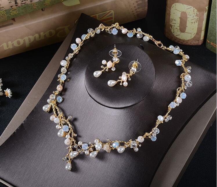[해외]Wedding Set Fashion Jewelry Bridal Rhinestone New 2019 Women Necklace Earrings Pearl Crystal New Arrival/Wedding Set Fashion Jewelry Bridal Rhines